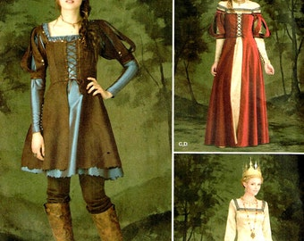 Medieval Huntress Lace Up Bodice Fantasy Costume Dress Simplicity 1773 Sewing Pattern Renaissance Gown