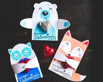 Woodland Fox Classroom Candy Holder valentines cute animals