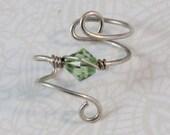 Peridot GREEN Crystal Swirl Earcuff