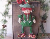 Primitive Folk Art Christmas Sant's Elf Doll Whimsical Sitter or Wall Hanger ofg hafair faap CIJ