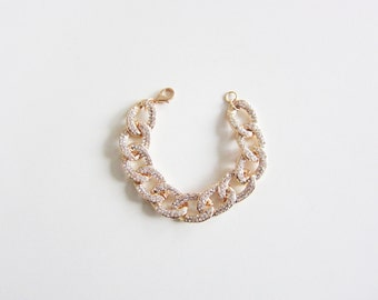Flat Gold Pave Link Bracelet