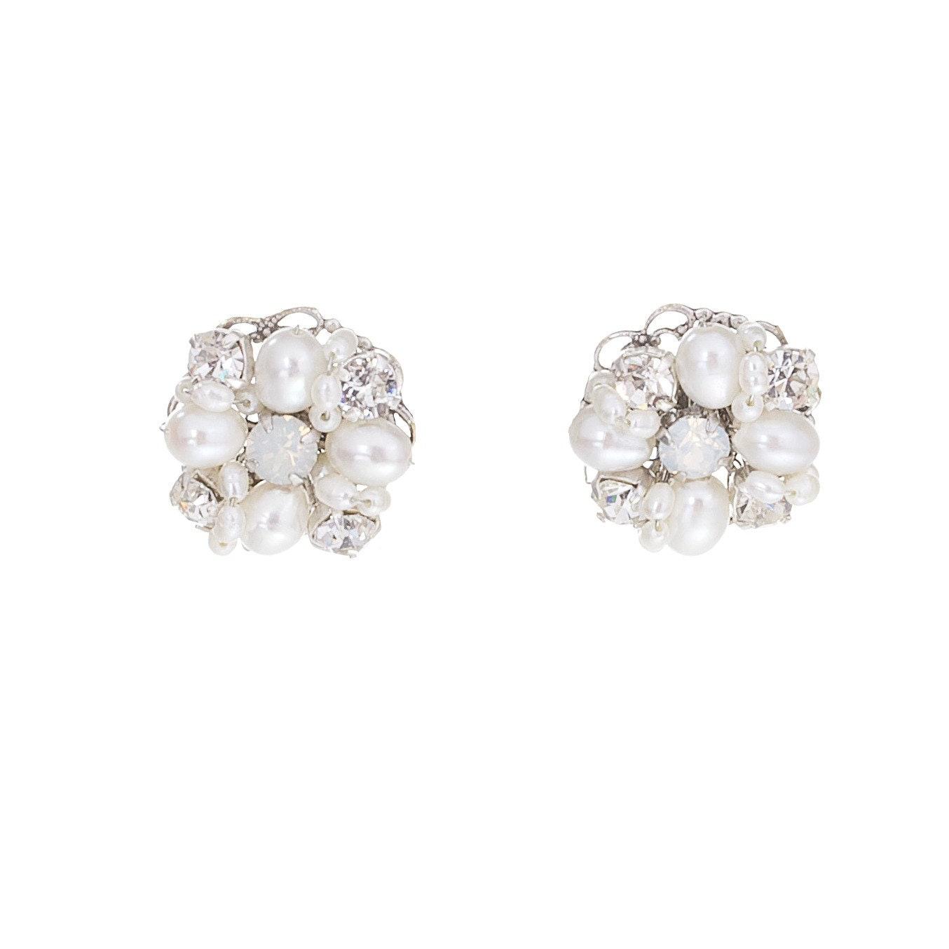 wedding earrings bridal ivory pearl earrings bridal stud