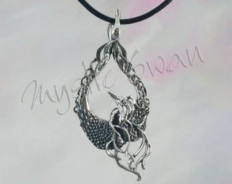 Mystical Fantasy Phoenix Pendant in Sterling Silver