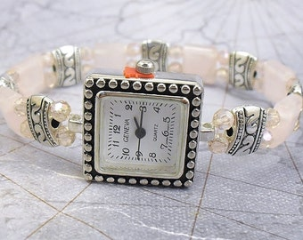 Petite Rose Quartz, Pink Crystal Glass and Silver Stretchy Watch