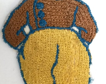 VINTAGE HANDMADE APPLIQUE patch, Dutch gentleman, kitschy linen, 1950s patch, Amsterdam Netherlands or Holland, embroidered art, hand made,