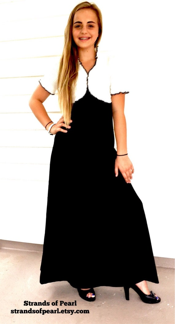 Vintage Black and White Maxi Dress