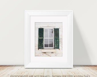 Window Photograph, Farmhouse Decor, Farmhouse Window, Green and White, Rural Decay, Abandoned Farmhouse, Rustic Decor, Weathered, Cottage