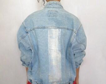 The Vintage Holographic Foil Stripe Denim Jacket