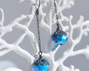 Capri Blue Long Drop Crystal Earrings