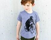 Chimpanzee on a Bicycle - Kids 2 4 6  Shirt American Apparel - Tri Blend - Grey