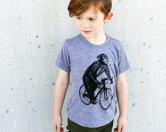 Chimpanzee on a Bicycle- Kids T Shirt, Children Tee, Tri Blend Tee, Handmade graphic tee, sizes 2-12
