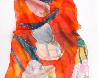Tulips Silk Scarf, Hand painted shawl, Bright summer scarves, Large floral scarf painted by hand, Mothers Day gift/ Unique handmade gift