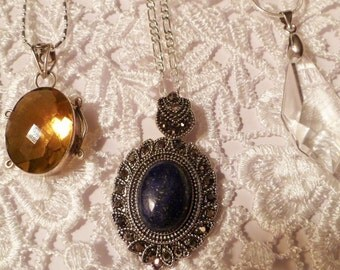 Sterling Silver.925 Chain Necklace with the choice of Precious Stone Pendant Lapis, Crystal or Gold Quartz