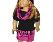 4 piece Paris Outfit 18 inch doll clothes fits American Girl Doll Skirt Shirt Infinity Scarf Hat Item 414