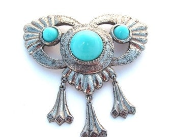 Vintage Faux Turquoise Stone Jewelry, Large Dangle Metal Southwestern Feather Design Medallion Brooch Blue Jewelry Wing Appearance
