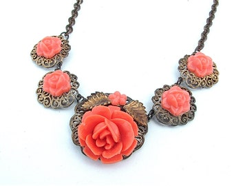 Antique Jewelry Romantic Coral Celluloid Rose Faux Gold Pendant Necklace Bridal Jewelry Any Occasion Vintage Accessory