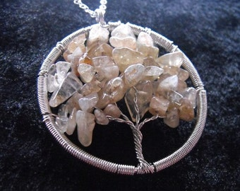 """Citrine Yggdrasil / tree of life pendant in silver on 30"""" 925 silver chain"""