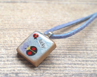 Ladybug Collage Scrabble Necklace, Handmade Scrabble Tile Pendant, Insect Wood Pendant, Bug Jewelry, lucky Ladybug, Gift for Gardener