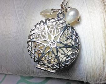 Worry Locket - white round locket / white pearl necklace / silver locket /  pearl necklace / photo locket / floating locket/ locket necklace