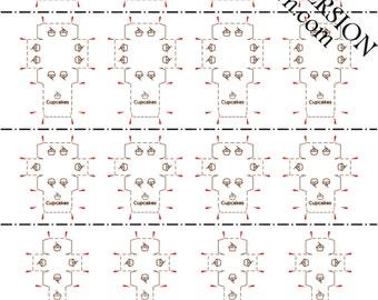 Printable PDF File - Dollhouse Miniature Cupcake Box - BROWN OUTLINES