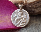 Mother Mary bronze pendant Guardian Angel jewelry gold chain pendant spiritual pendant baby Jesus jewelry design gold necklace gift idea