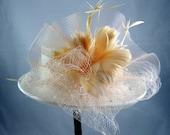 Peaches and Cream Hat Fascinator Kentucky Derby Wedding Hat