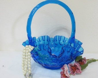 Fenton Basket Blue Thumbprint Art Glass