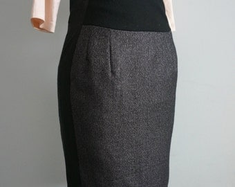 Metallic Skirt / Silver Skirt / High Waist Skirt / Stretch Pencil Skirt / Office Fashion / Work Clothes / Work Skirt / Eco / Tailored Skirt