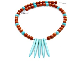 Turquoise Spike Necklace, Tribal Necklace, Ethnic Necklace, Southwest, Men Necklace, Women Necklace, Rustic Native American by Mei Faith