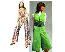 Womens Jumpsuit Pattern Simplicity 9318 Culotte Jumpsuit Zipper Front | Junior Womens Sewing Pattern Size 11 Vintage 70s Pattern
