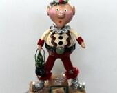 Folk Art  Whimsical Christmas Elf  Boy Collectible Art Doll