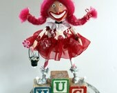 Valentine Holiday Pink Headed Pixie Collectible Folk Art Doll
