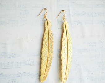 Large Gold FEATHER  EARRINGS Woodland Nature Bird Autumn