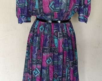 1980s Vintage Dress - Geometric Print Secretary Dress - Turquoise Pink Purple Print Day Dress by Lady Carol - Smart Efficient - 40 Bust