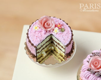 Pink And Chocolate Layer Cake decorated with Pink Rose - MADE TO ORDER - Miniature Food in 12th Scale for Dollhouse