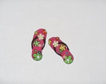 "Embroidered Iron On Applique-""Flower Flip Flops"""