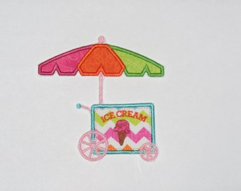 "Embroidered Iron On Applique ""Ice Cream Cart"""