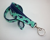 Fabric Lanyard  ID Badge Holder - Lobster clasp and key ring - teacher gift mint, navy, and white whales on navy -   two toned double sided