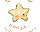 Art for Kids - Twinkle Twinkle Little Star Print 11x14 - Wall Art for Nursery, Children's Art, Baby Art, Stars, Night, Quote, Lullaby, Cute