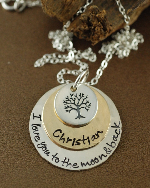 Moon & Back Necklace, Personalized Tree of Life Necklace, Family Tree Necklace, Layered Necklace, Personalized Gold Necklace