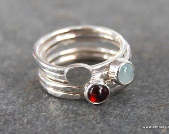 Stackable Rings, Garnet Ring, Aquamarine Ring, Sterling Silver Ring, Gemstone Stacking Rings, Silver Rings, Stacking Rings, Emma's Jewels