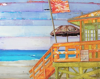 Beach art PRINT or CANVAS, coastal lifeguard shack summer gift, coast beach home decor wall poster, collage, painting, ocean art, All Sizes