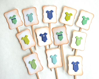 Baby Boy Onesies, Baby Shower - Cupcake Toppers