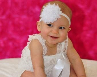 White Flower Headband, Silver Glitter Flower, White Baby Headband, Baby Hair Bows, Shabby Headband, Baby Girl Headband, White Chiffon Bow