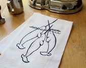 Narwhal Flour Sack Towel - Hand Screen Printed