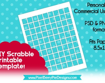 """DIY Collage Sheet Printable - 1 inch Scrabble Tiles (Instant Download!) 8.5x11"""" &  4x6"""" Digital Overlay, PSD/PNG Files, for Jewelry Making"""