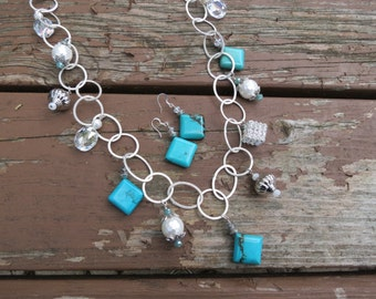 Long Chain Necklace with Turquoise, Rhinestones, Crystals and Mother of Pearl