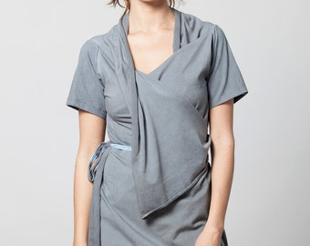 short sleeve wrap top, dyed with stone wash effect
