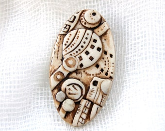 Artisan Handmade Geometric Faux Carved Ivory Pendant