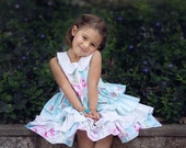 Romantic Flower Ruffle Dress for Girls - Blue & Pink - Polka Dots - Birthday - Party - Holiday - Spring - Easter - Special Occasion - Collar